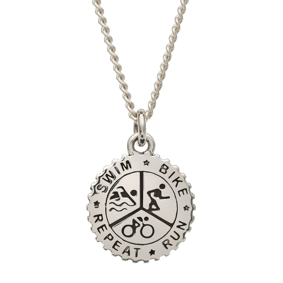 Triathlon Small Swim Bike Run Silver Necklace