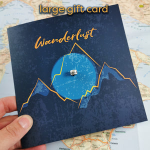 Wanderlust gift card with silver charm going away travelling gift