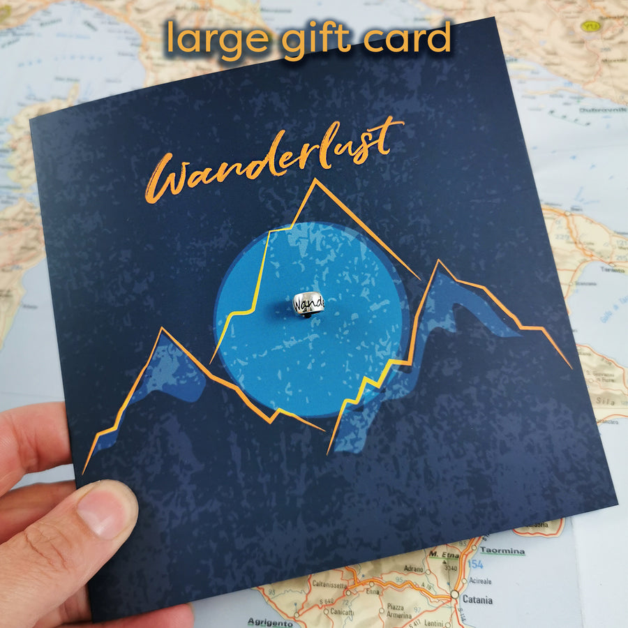 Wanderlust engraved silver bead for necklaces or bead charm bracelets - good luck on your travels gift from Off The Map Jewellery Brighton