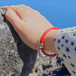 Wanderlust leather red bracelet for women going travelling