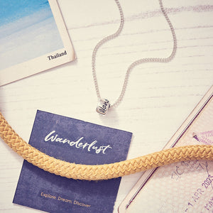 Wanderlust silver necklace for men & women - unusual travel gift alternative to a silver St Christopher