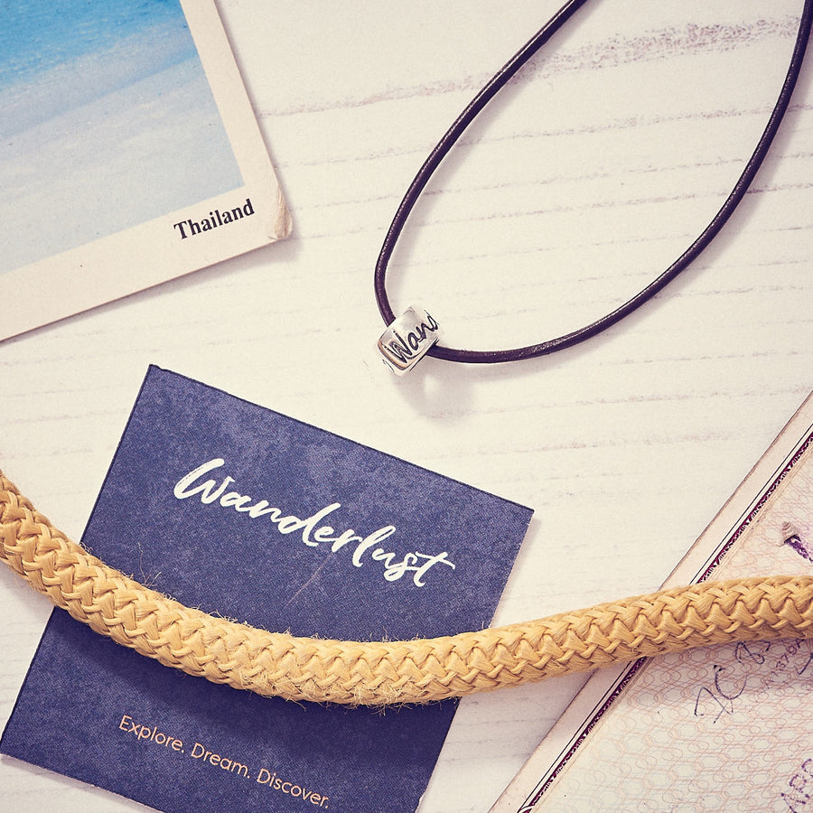 Wanderlust travel silver & leather necklace for men & women - vegan cord option available