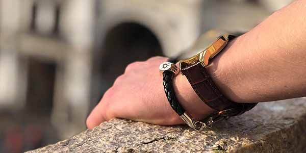Traveler Keepsafe Mans Leather Bracelet