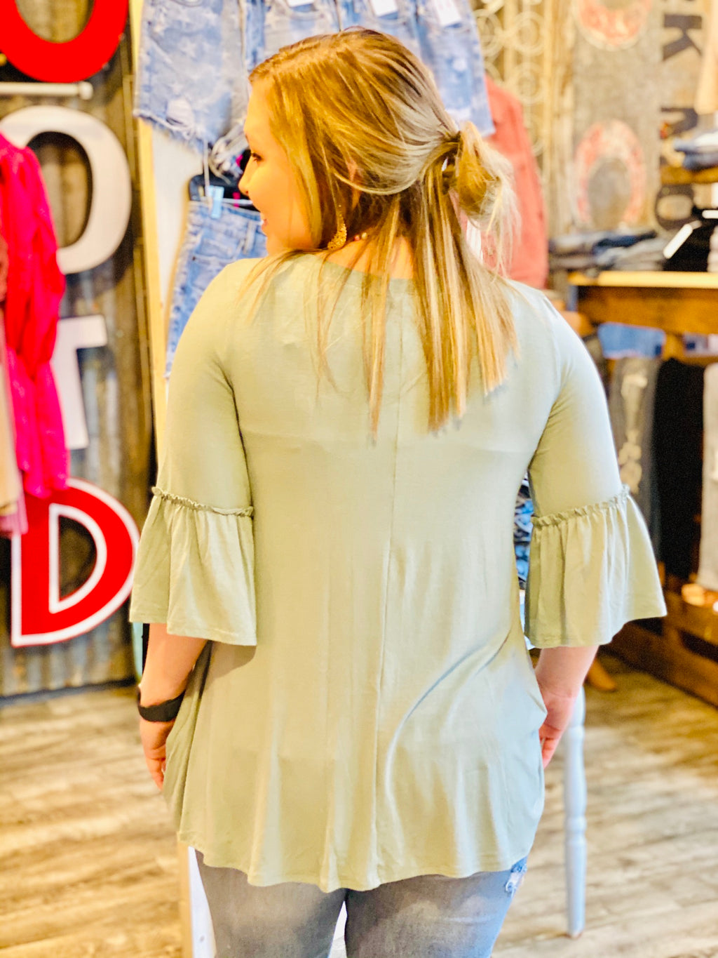SAGE BELL SLEEVE TOP - CHICKEN ROW MARKET