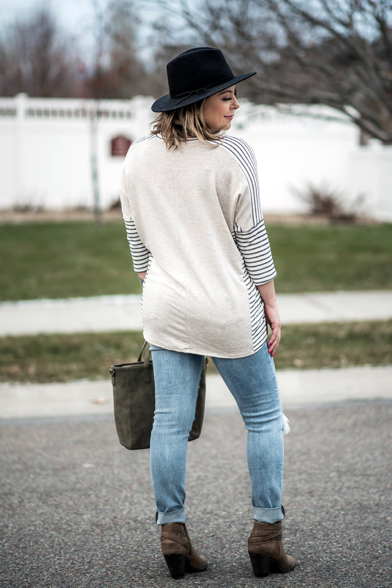 It's Total Love Gray Striped Boyfriend Top