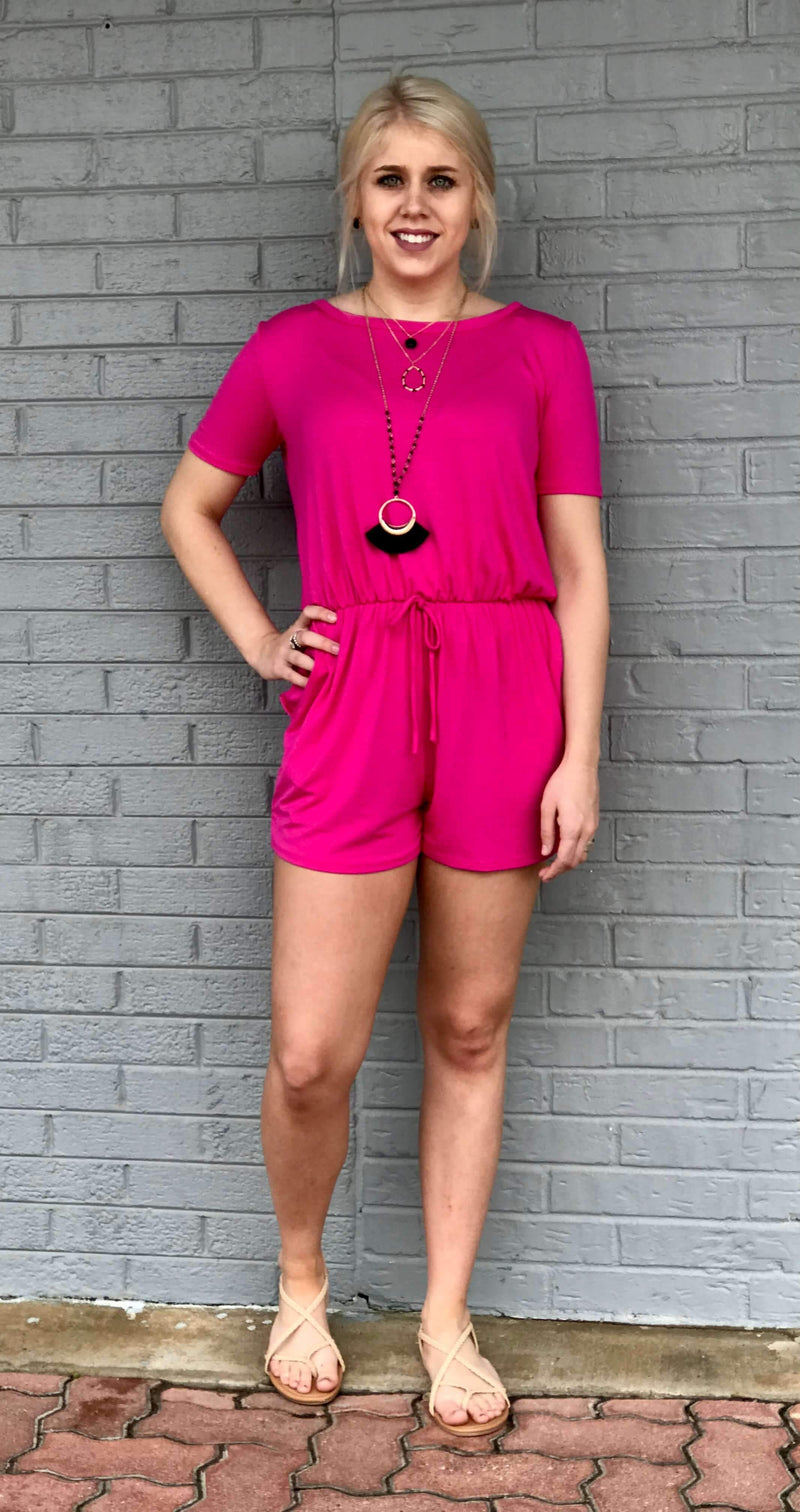 OH SO HOT PINK ROMPER - CHICKEN ROW MARKET