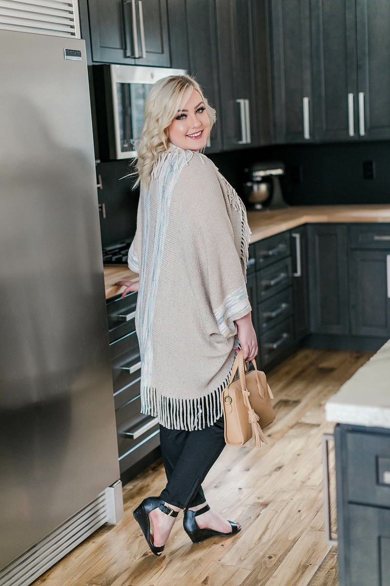 Be Effortless Fringe Kimono In Neutrals