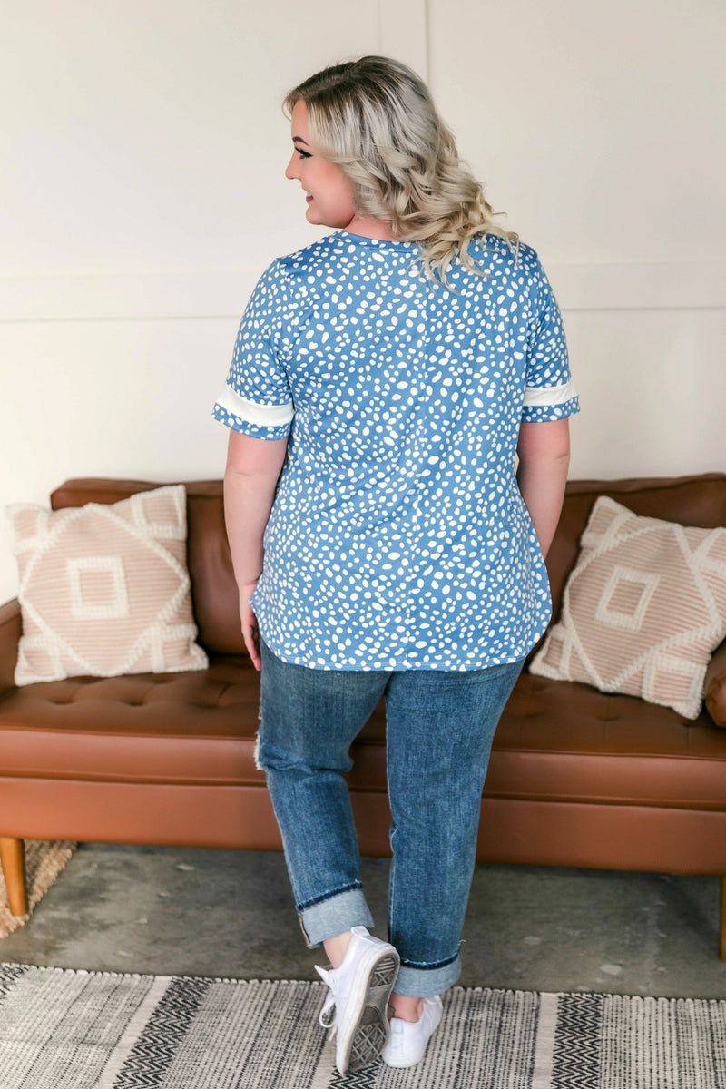 Crossing All The Tee's Blue Polkadot