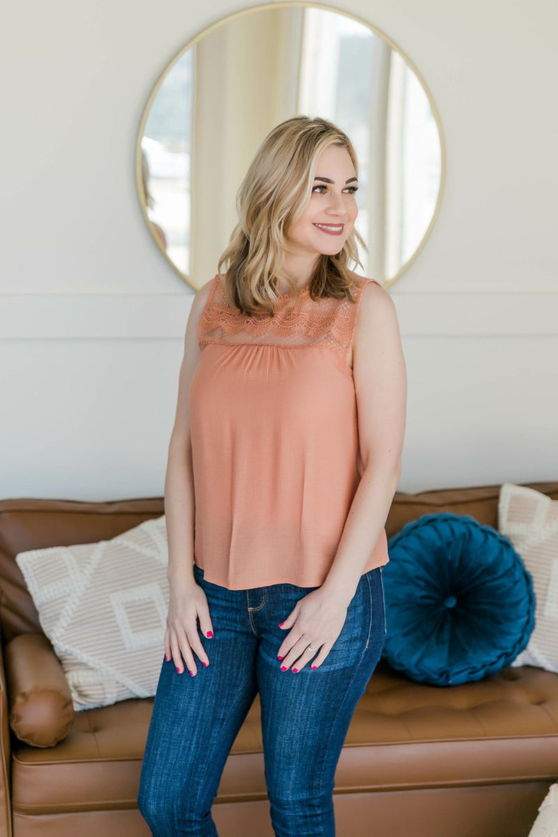 No Peeking Sleeveless Top In Summer Apricot