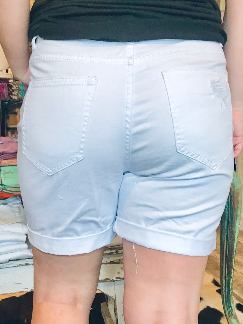 WHITE DISTRESSED SHORTS - CHICKEN ROW MARKET