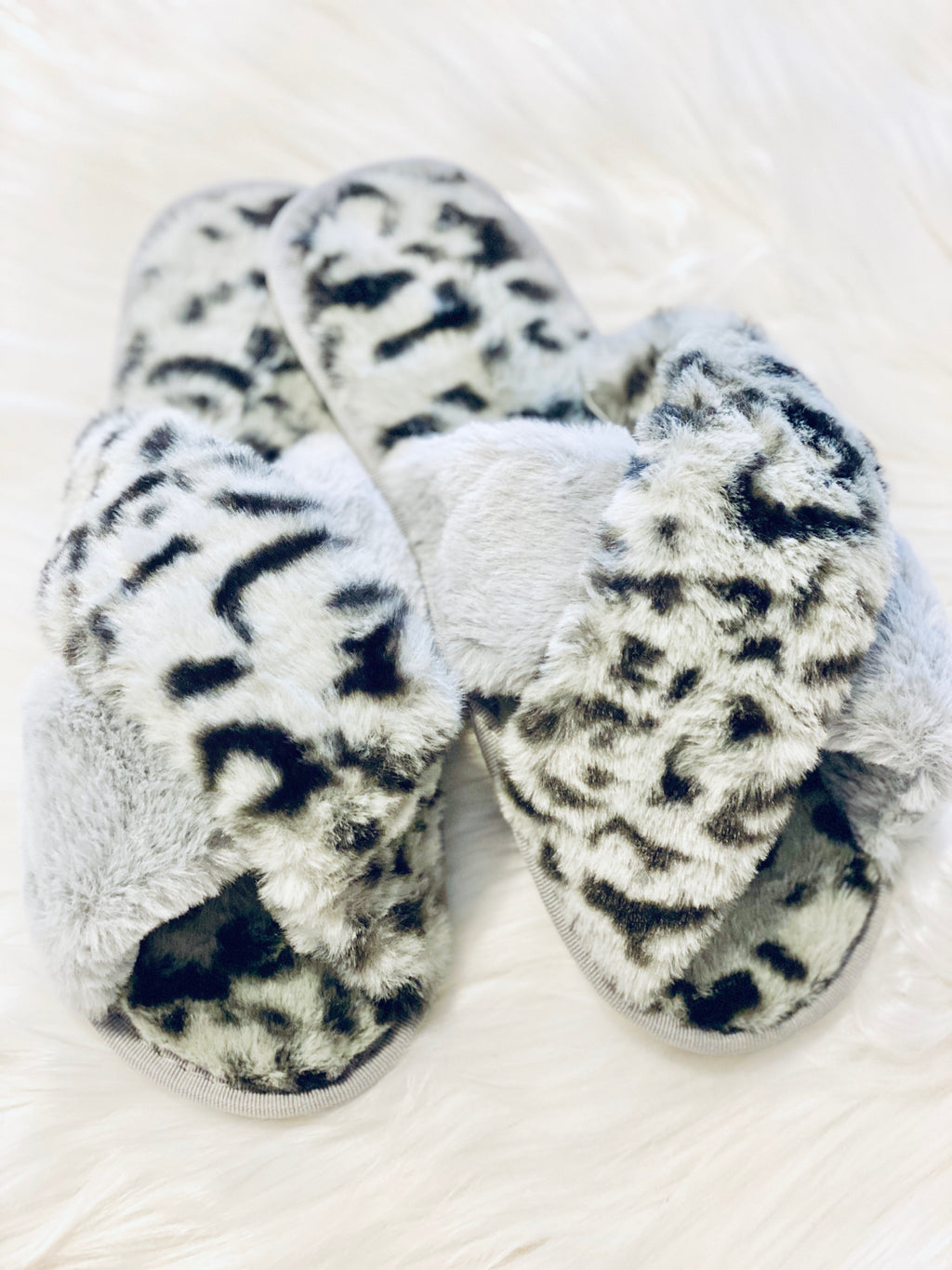 FUR LEOPARD SLIPPERS-GREY