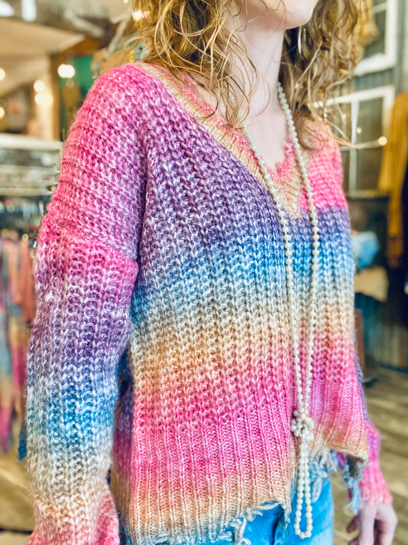 CHILLS AND THRILLS SWEATER-RAINBOW
