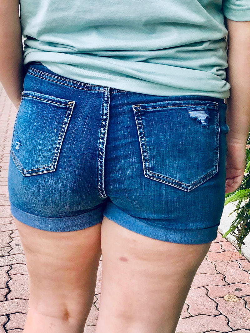 MED WASH DENIM SHORTS - CHICKEN ROW MARKET