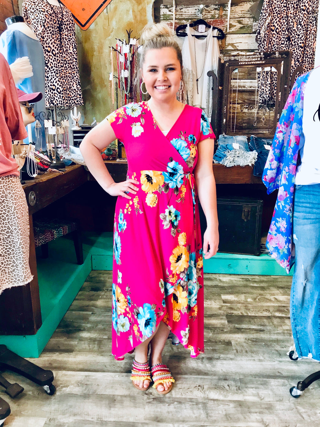 FLORAL WRAP MAXI DRESS - CHICKEN ROW MARKET