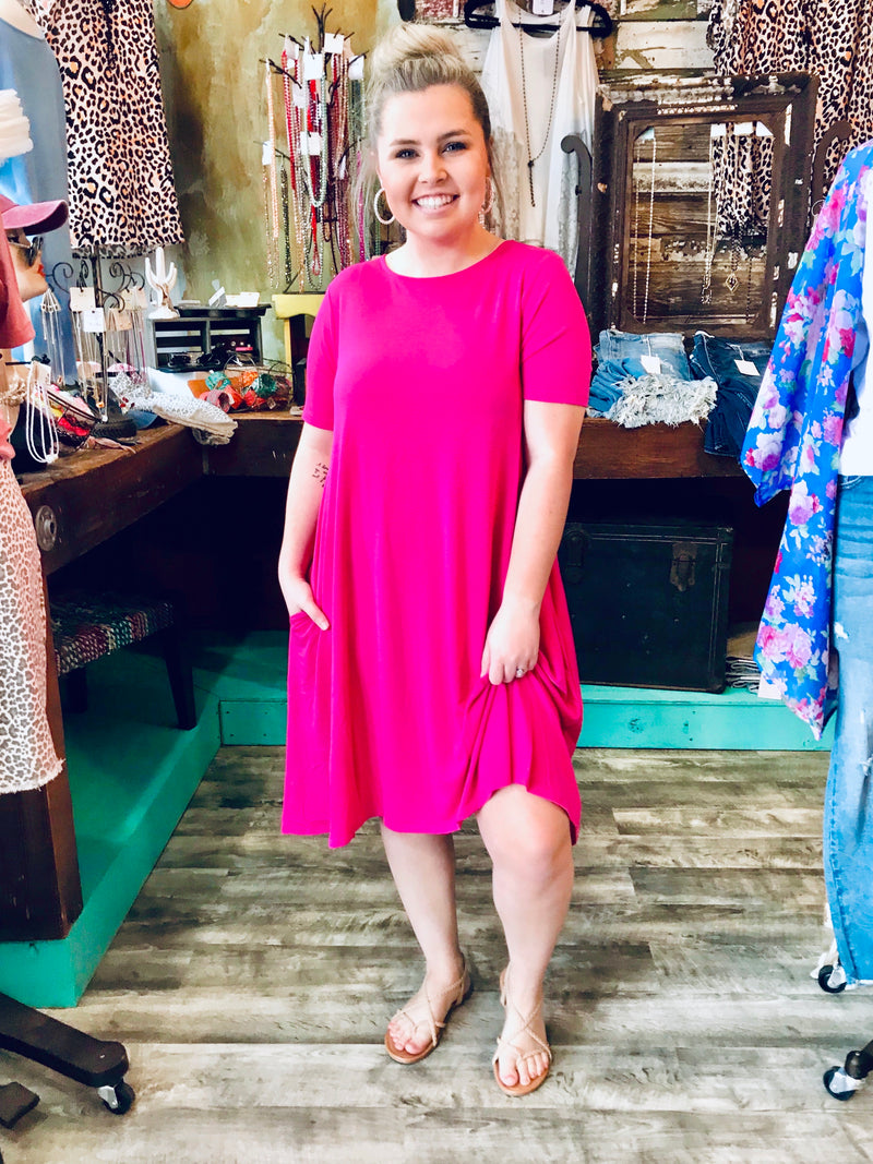 HOT PINK T-SHIRT DRESS - CHICKEN ROW MARKET