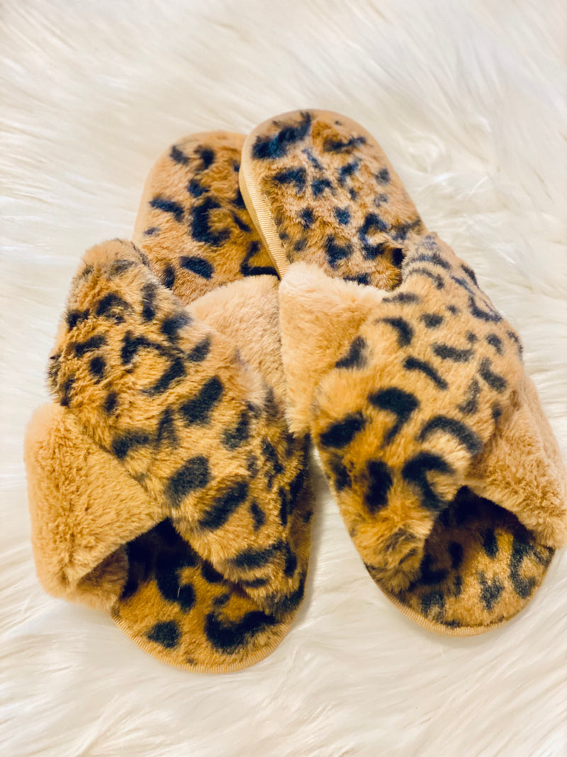 FUR LEOPARD SLIPPERS-TAUPE