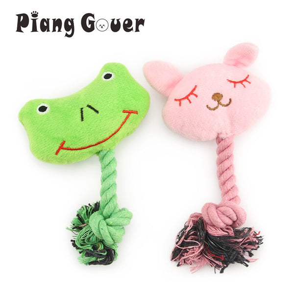 2pcs Plush Clean Tooth Rope Frog Dog Toys  (mix)