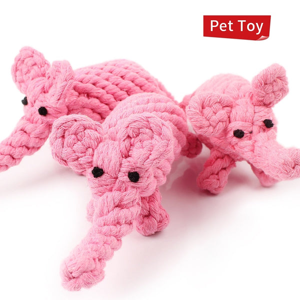 Pink Rope Elephants Dog Chew Toys