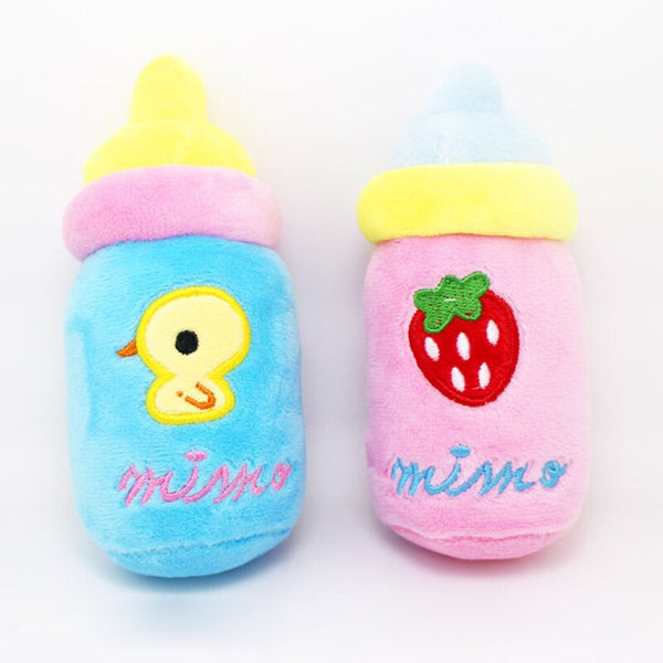 2PCS Mix Milk Bottle Strawberry Dog Toy