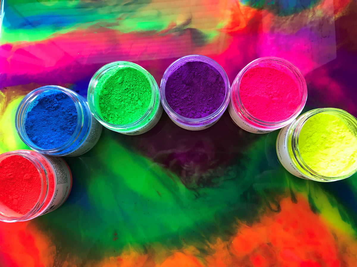 Neon Colour Pigment Powders in six intense neon colors
