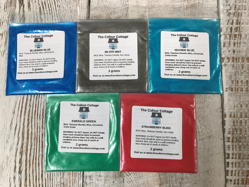 The Colour Cottage Sample Pack Mica Color for resin art, resin charms, mica beauty