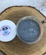 Load image into Gallery viewer, Silver Mist mica powder for resin art, resin charms, and making geodes.