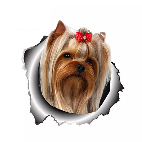 Red bow Yorkshire Terrier Vinyl Decal