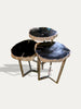 set of 3 petrified wood side tables