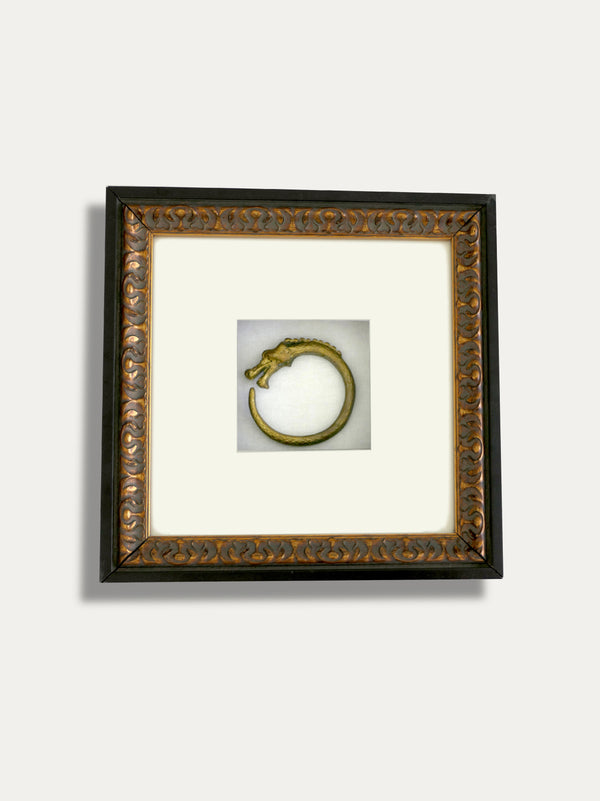A STRIKING DRAGON BRACELET IN BRASS ENCAPSULATED INSIDE A BEAUTIFUL WOODEN FRAME, BORNEO. A SYMBOL OF IMMORTALITY