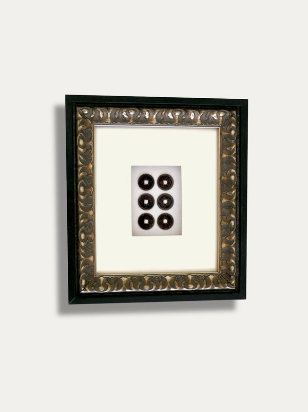 Frame with Pis Bolong -  6 Balinese Coins - kirschon