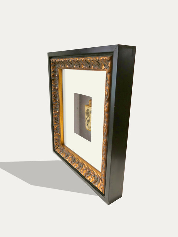 Frame with Hand Carved Snuff Bottle from China, engraved with Kamasutra motif