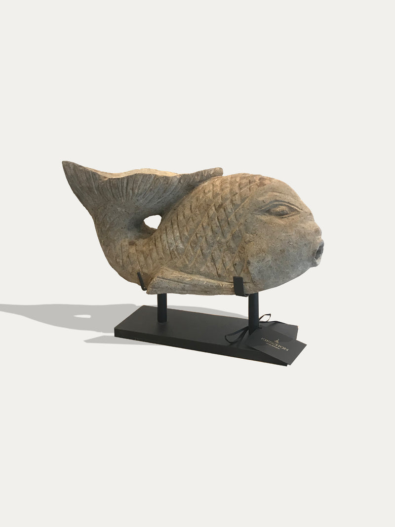 Medium Hand Carved Ikan (Fish) Statue From Java - kirschon