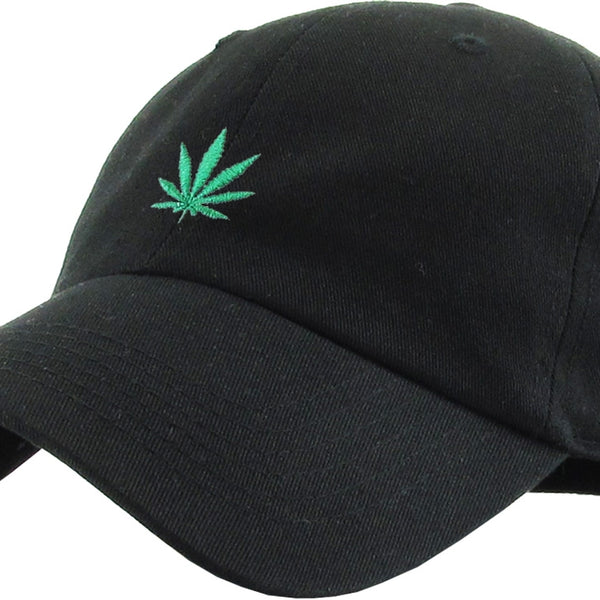 Marijuana Leaf Black Dad Baseball Polo Style Hat