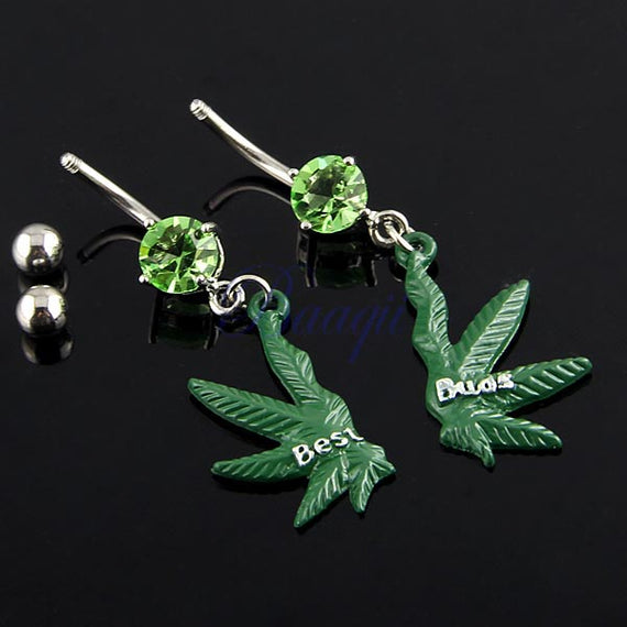 Green Gem Pot Marijuana Leaf Weed Pair Navel Ring Belly Button Bar