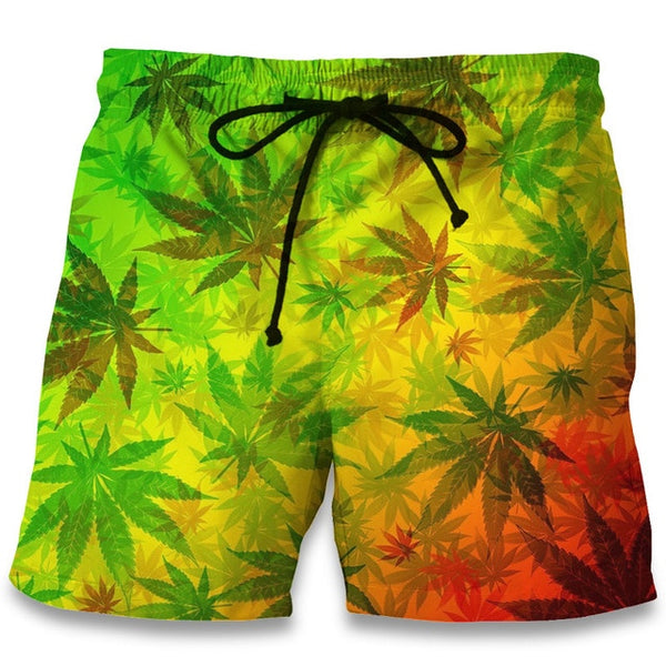Leaf Weeds 3D Print Summer Fitness Trunks Bermuda Boardshorts