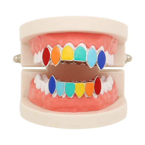 Halloween Gold and Silver Hip/Hop Grill with Rainbow Coloring