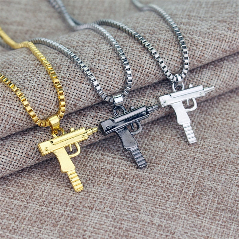 Gun Long Chain Keychain Pendant Necklace