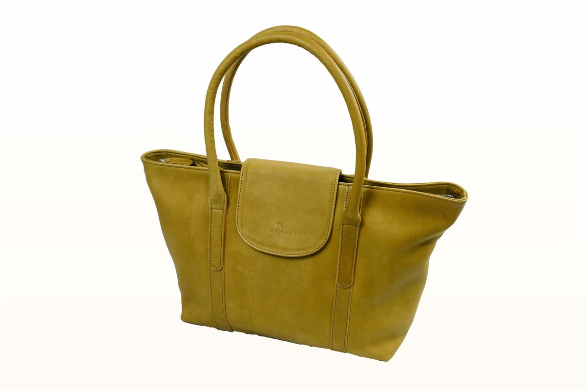 Leather large tote/overnight bag, with fold over
