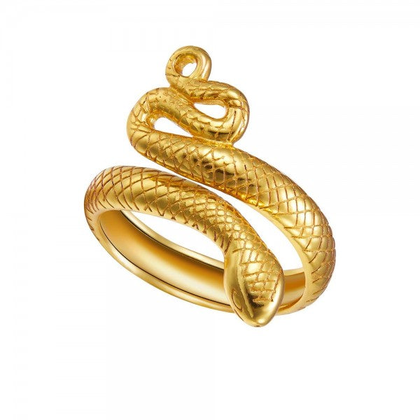 anillo abierto ajustable de serpiente confeccionado en plata de ley con baño de oro  18 kilates. Adjustable gold plated silver snake ring