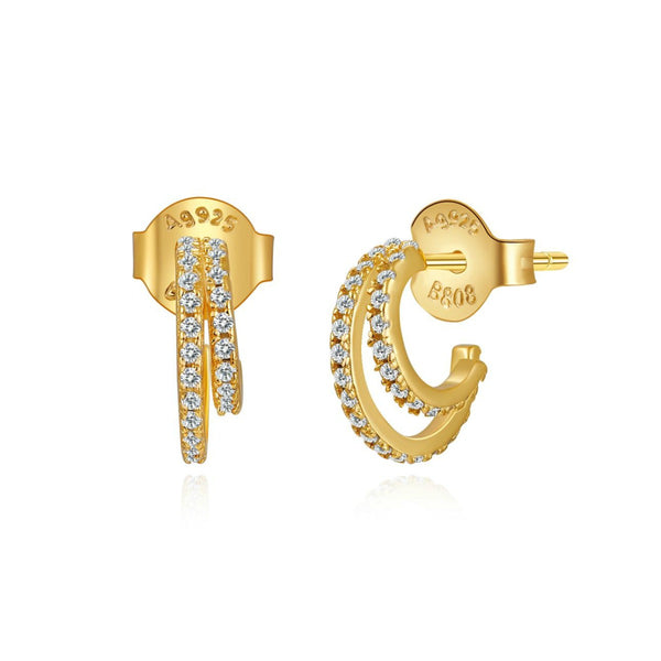pequeños pendientes de aro doble con cierre fácil que están confeccionados en plata de ley con baño de oro 18 kilates y circonitas y son perfectos para piercing. Gold plated sterling silver double hoop earrings with zircon for piercing