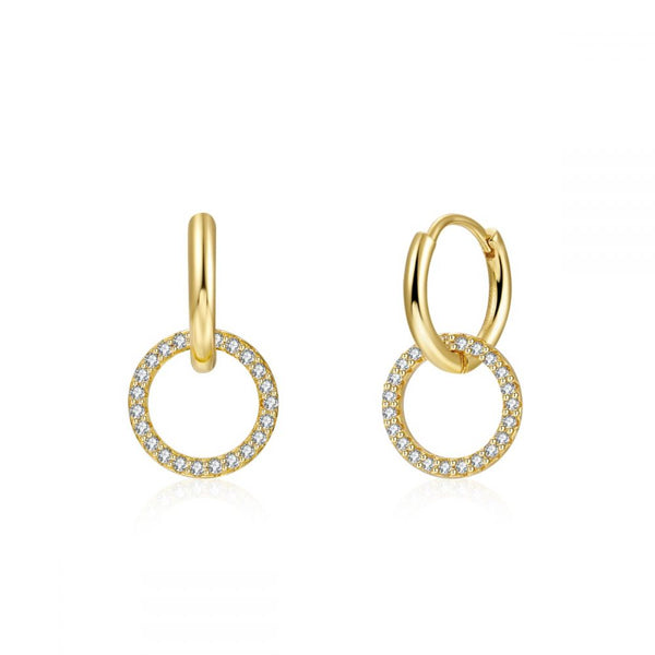 pendientes de doble aro en plata con baño de oro y circonitas para piercing. Double hoop gold plated sterling silver piercing earrings