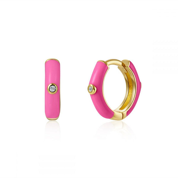 aros para piercing con esmalte rosa fucsia confeccionados en plata de ley con baño de oro 18 kilates. Gold plated sterling silver hot pink varnished hoop earrings