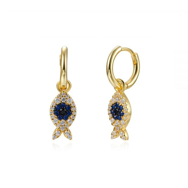 pendientes de aro para piercing con colgante de pez . Están confeccionados en plata de ley con baño de oro 18 kilates y circonitas blanco, azul y negro. Gold plated sterling silver hoop earrings with zircon fish pendant