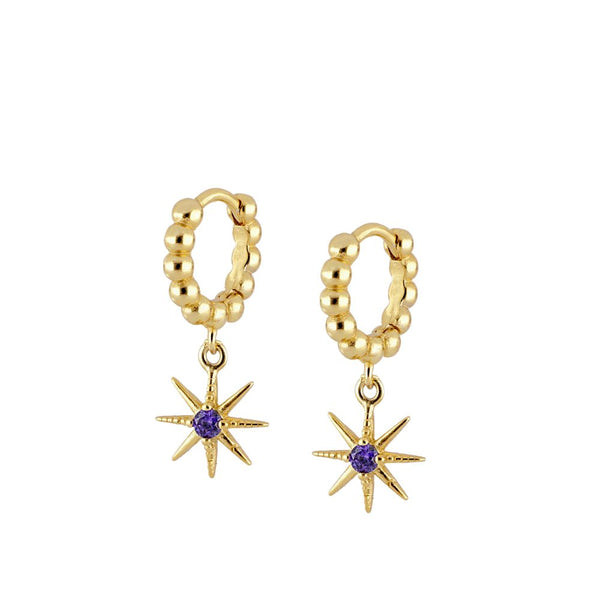 pendientes de aro para piercing con colgante de estrella y circonita lila. Gold plated silver star hoop earrings with lilac or purple zircon