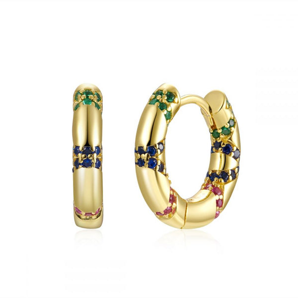 PENDIENTES pequeños de aro grueso que no pesen confeccionados en plata de ley con baño de oro 18 kilates y circonitas de colores. Gold plated sterling silver chunky hoop earrings with rainbow color zirconia