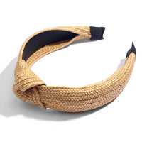 diadema con nudo de fibra natural de rafia. natural raffia headband or hairband