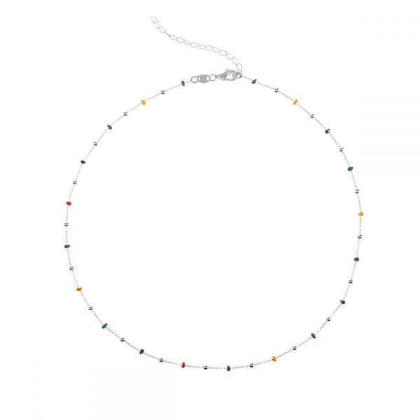 gargantilla fina de bolitas multicolor confeccionada en plata de ley con baño de oro 18 kilates. Gold plated sterling silver color bead necklace