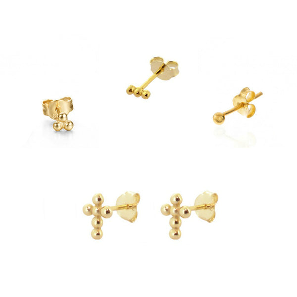 mix de pendientes para piercing con cruces y bolitas. Están confeccionados en plata de ley 925 rodiada y plata de ley 925 con baño de oro 18 kilates. Gold plated sterling silver piercing earring mix with beaded cross