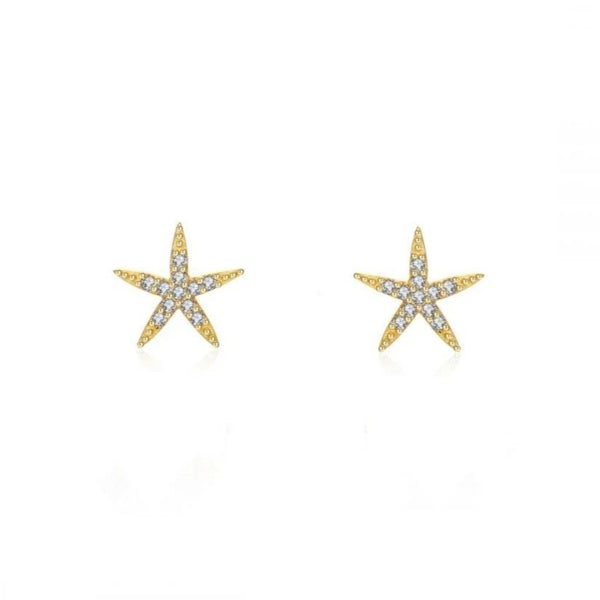 pequeños pendientes para niña anti alergia de estrella de mar con circonitas confeccionados en plata de ley con baño de oro 18 kilates. Gold plated sterling silver zircon allergy free starfish earrings