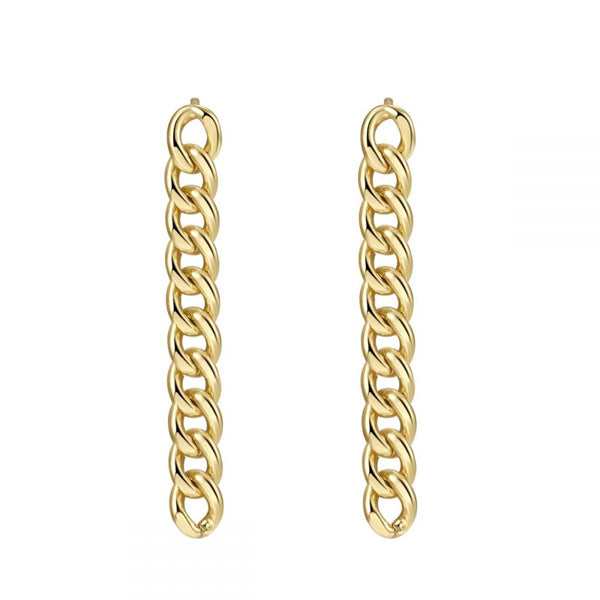 pendientes largos de cadena estilo vintage para piercing confeccionados en plata de ley con baño de oro 18 kilates. Gold plated sterling silver long chain earrings for piercing
